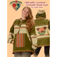 Grateful Dead Bear Face Hand Embroidered Striped Shyama Hoodie