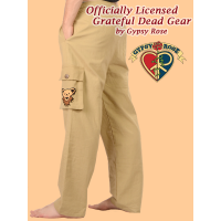 Grateful Dead Bear Face Hand Emb Cotton Cargo Pants