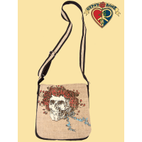 Skull and Roses Grateful Dead Hemp and Cotton DJ Bag