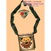 Grateful Dead Dancing Bear Face Hand Embroidered Messenger Bag