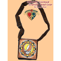 Grateful Dead Steal Your Face Tribal Mandala Hand Embroidered Messenger Bag