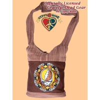 Grateful Dead Steal Your Face Tribal Mandala Hand Embroidered Cotton And Gheri Shoulder Bag