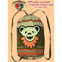 Grateful Dead Bear Face Hand Embroidered Striped Shyama Drawstring Backpack