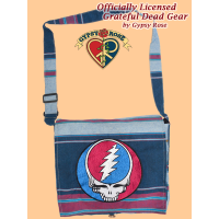 Grateful Dead Steal Your Face Hand Embroidered Striped Shyama Large DJ Bag