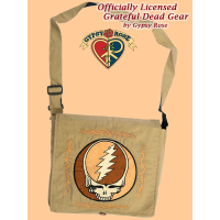 Grateful Dead Steal Your Face With Tribal Border Hand Embroidered Cotton Large DJ Bag