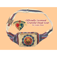 Grateful Dead Bear Face Rainbow Mandala Hand Embroidered Cotton Hip Satchel