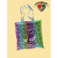 Peaceful Unity Tree Print Tye Dye Cotton Tote Bag