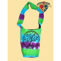 Peaceful Unity Tree Print Tye Dye Cotton Peddler Bag