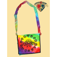 Rainbow Consciousness Lotus and Chakra Print Tye Dye Cotton Dj Bag