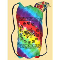 Rainbow Consciousness Lotus and Chakra Print Tye Dye Cotton Multi Use Bag