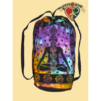 Cosmic Chakra Print Tye Dye Cotton Drawstring Backpack