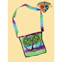 Peaceful Unity Tree Print Tye Dye Cotton DJ Bag