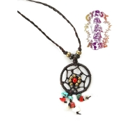 DAINTY DREAMCATCHER W SEMIPRECIOUS HEALING STONES NECKLACE