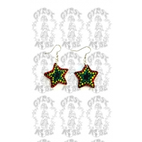 RASTA STAR PAINTED COCONUT EARRINGS