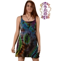 BRAIN ESCAPE TYE DYE SPANDEX BLEND SHORT SUNDRESS WITH BRAID STRAPS