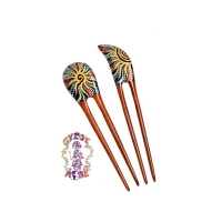 FREE SPIRIT HAND PAINTED WOODEN TUNING HAIRSTICK