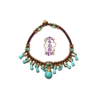 Catacombs Club Braided Turquoise And Brass Beads Anklet