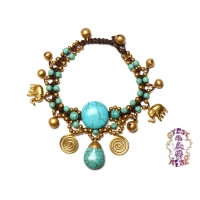 Catacombs Club Braided Turquoise Beads & Brass Anklet