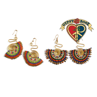 Rising Sun Woven & Beaded Earrings