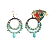 Mojave Sunset Turquoise Bead Hoop Earrings