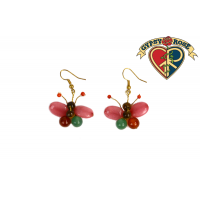 Colorful Stone Bead Butterfly Earrings