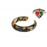 Psychedelic Swirl Painted Thick Bangle Bracelet