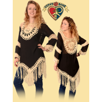 COTTON POLY BLEND CROCHET MANDALA FRINGE BLOUSE