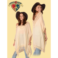 COTTON POLY BLEND CROCHET PONCHO