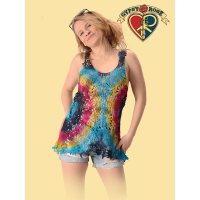 Summer Of Love Tye Dye Crochet Short Dress Top