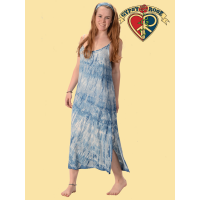 Natural Indigo Tye Dye Rayon Long String Dress