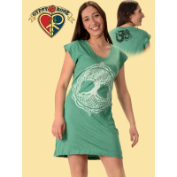 Celtic Tree Of Life Cotton Printed Cap Sleeve Short Dress