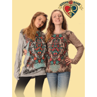 Lotus Hamsa Hand Cotton Printed Long Sleeve T-Shirt