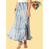 Natural Indigo Tye Dye Rayon Skirt