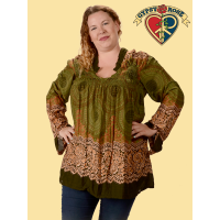 Honeycomb Mandala Print Long Sleeve 1X Rayon Blouse