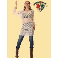 Heart Of Gold Crochet Half Sleeve Dress