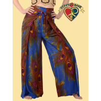 Free Lovin' Feather Print Rayon Wrap Pants