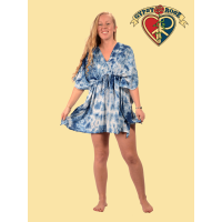 Natural Indigo Tye Dye Rayon Hidden Sleeve Poncho Dress