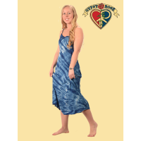 Natural Indigo Tye Dye Rayon Tie Back Long String Dress
