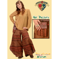 Cotton Dangling Pocket Jammin Flare Leg Pants