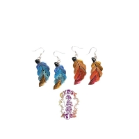 FUNKIFIED LEAF HAND PAINTED COCONUT EARRINGS
