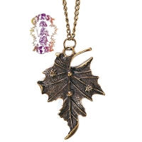 AUTUMN LEAF NECKLACE FROM GYPSY'S TRUNK WITH ANTIQUE FINISH METAL CHAIN