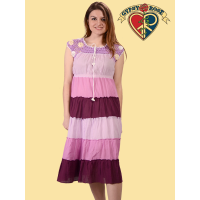 Good Vibes Cotton Tiered Dress w/Crochet Bodice