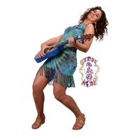 Electric Lady Tye Dye Spandex Blend Fringed Short Dress