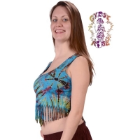 Electric Lady Tye Dye Spandex Blend Fringed Midriff Blouse