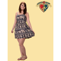 Jungle Groove Elephant Print Rayon Mini Dress