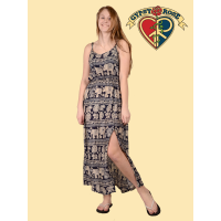 Jungle Groove Elephant Print Rayon Maxi Dress W/ Peek-A-Boo Leg Opening
