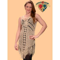 Heart Of Gold Crochet Fringe Short Dress
