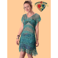 For Your Love Crochet Short Sleeve Fringed Mini Dress