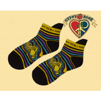 Psychedelic Cheshire Cat We're All Mad Striped Ankle Socks