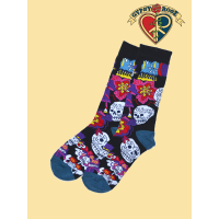 Day Of The Dead Skull & Flowers Tall Socks